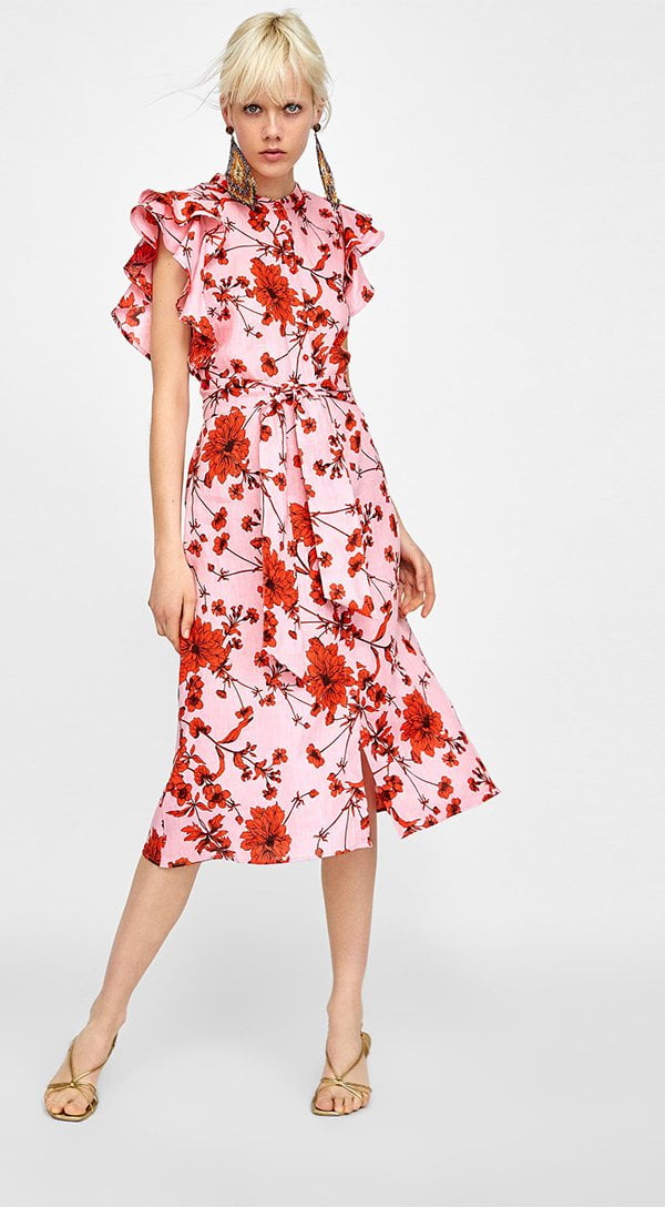 Zara Leinenkleid mit Blumenprint (Hey Pretty Fashion Flash: Romantische Sommerkleider 2018)