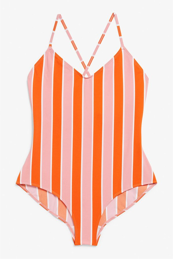 Hey Pretty Eyecatcher-Badeanzüge: Monki Striped Cross-Back Bathing Suit