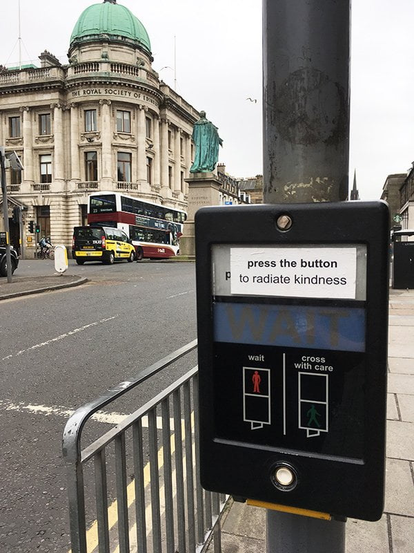 Seen in Edinburgh: Press the button to radiate kindness