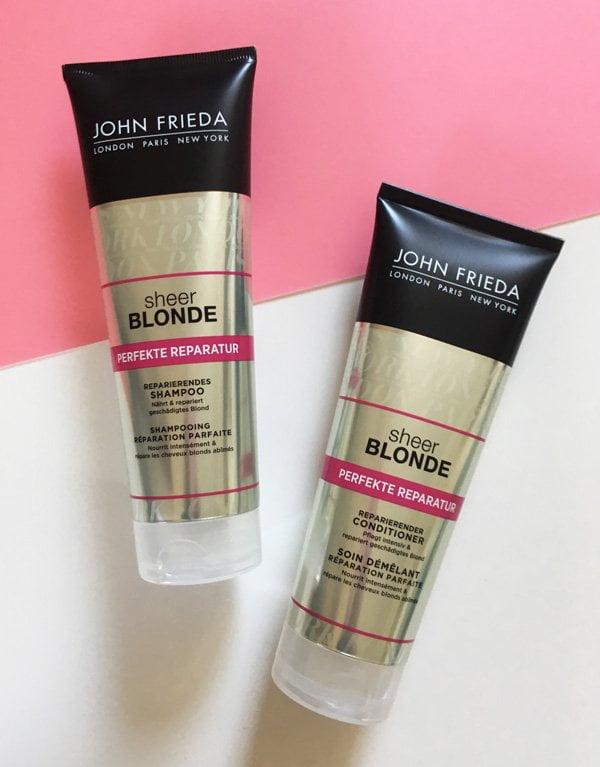 Erfahrungsbericht: John Frieda Sheer Blonde Perfekt Reparatur Reparierender Conditioner und Perfekte Reparatur reparierendes Shampoo (Hey Pretty Beauty Blog)