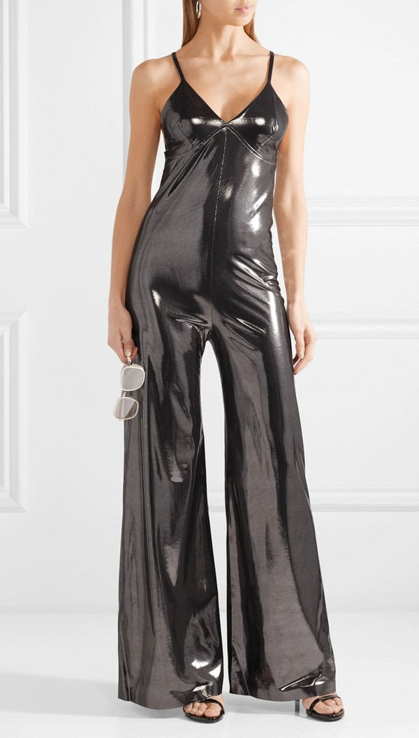 Norma Kamali silver lamé jumpsuit (Hey Pretty Fashion Flash), available at Net-a-Porter
