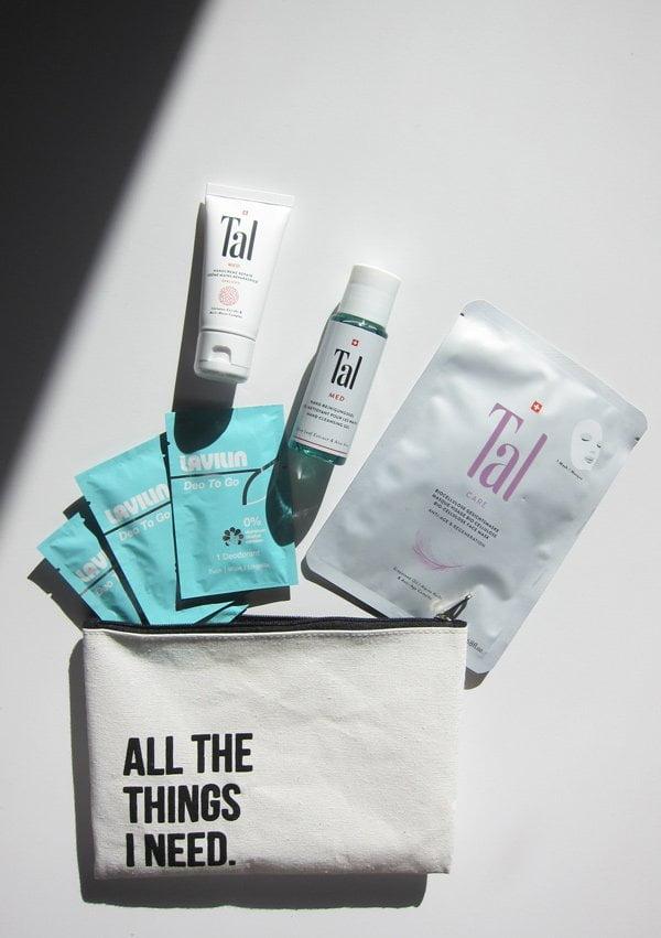 Verlosung: Reise-Necessaire von Tal Skincare mit Gesichtsmaske, Handpflege und Lavilin aluminiumfreie Deo-Wipes (Hey Pretty Beauty Blog)