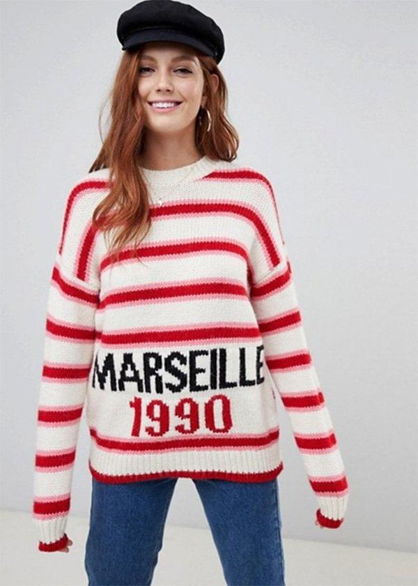 Herbstmode, endlich: Pink-Rot-Gestreifter Wollpullover von ASOS (Hey Pretty Fashion Flash Fall/Winter 2018)
