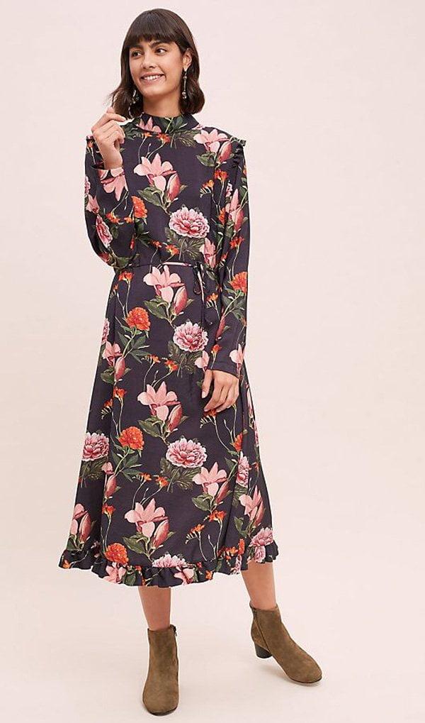 Herbstmode, endlich! Margot Floral Print Midi Dress von Anthropologie (Hey Pretty Fashion Flash FW 2018)