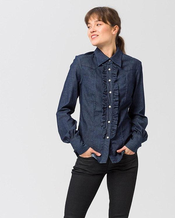 Herbstmode, endlich! Denim-Bluse mit Rüschen von G Star bei Ackermann (Hey Pretty Fashion Flash FW 2018)
