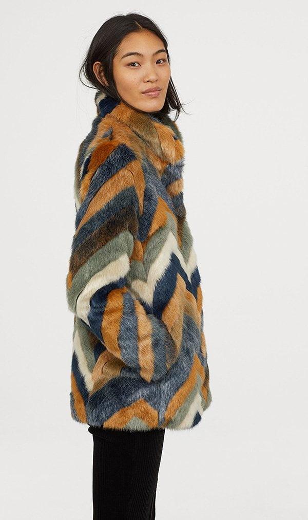 Herbstmode, endlich! Fake Fur Jacke Multicolor von H&M (Hey Pretty Fashion Flash FW 2018)