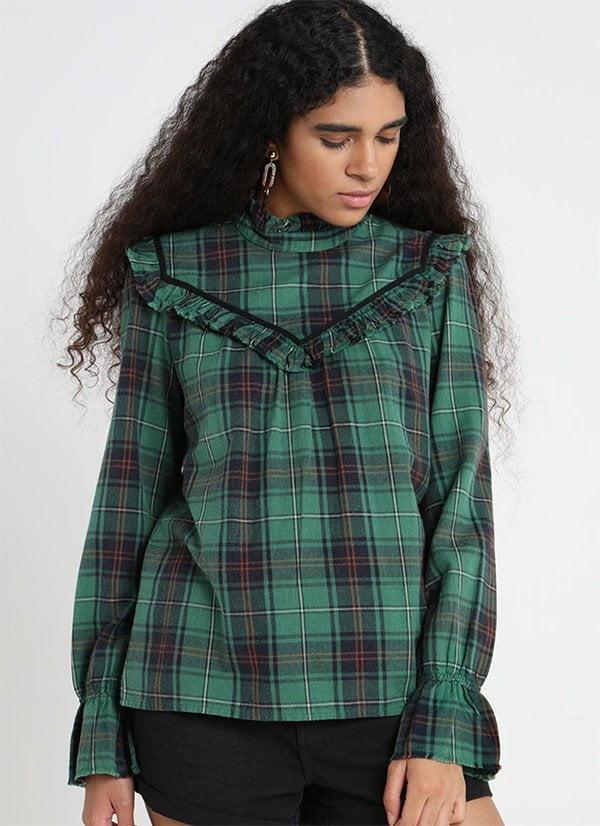 Herbstmode, endlich: Grüne Karobluse von Leon & Harper bei Zalando (Hey Pretty Fashion Flash Fall/Winter 2018)