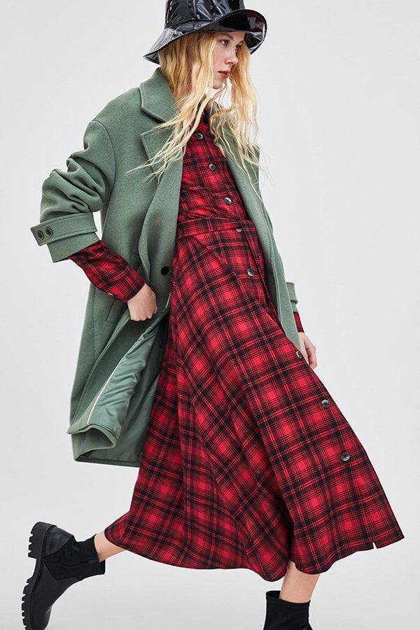 Herbstmode, endlich: Kariertes Wollkleid und grüne Wolljacke von Zara (Hey Pretty Fashion Flash Fall/Winter 2018)