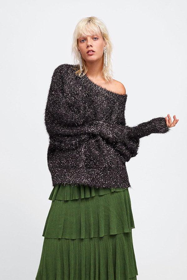 Herbstmode, endlich! Metallic-Strickpullover von Zara (Hey Pretty Fashion Flash FW 2018)