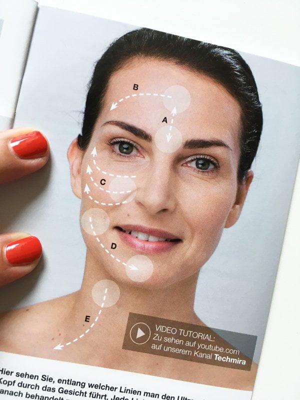 Mira-Skin Ultraschall-Gerät: Anwendungsbeschrieb aus Broschüre (Review auf Hey Pretty Beauty Blog)