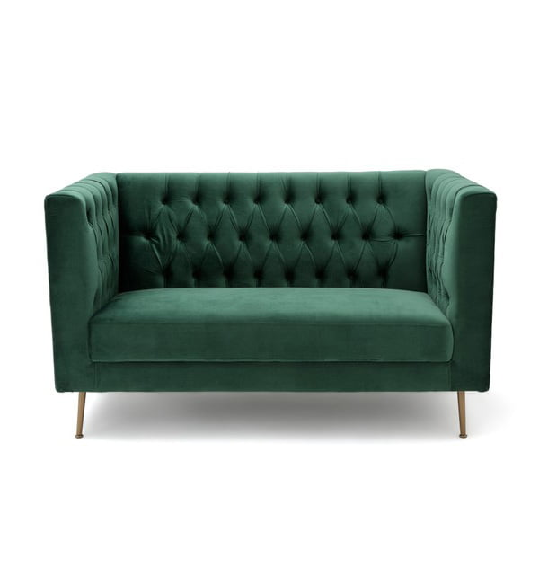 Glam Living: Panone Zweiersofa aus grünem Samt (Hey Pretty Interior Flash)