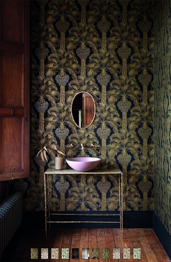 Cole & Son Martyn Lawrence Collection Wallpaper «Hollywood Palm» (Glam Wohnideen auf Hey Pretty), Image Credit: Rockett St. George