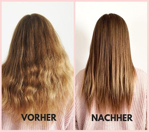Glättungsergebnis mit dem L'Oréal Professionnel Stempod: Vorher Nachher (Hey Pretty Beauty Blog Erfahrungsbericht)