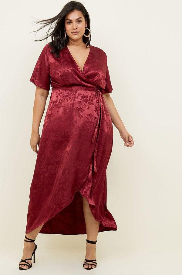 New Look Curves Wickel-Kimonokleid in Dunkelrot (Hey Pretty Fashion Flash: Partykleider 2018)