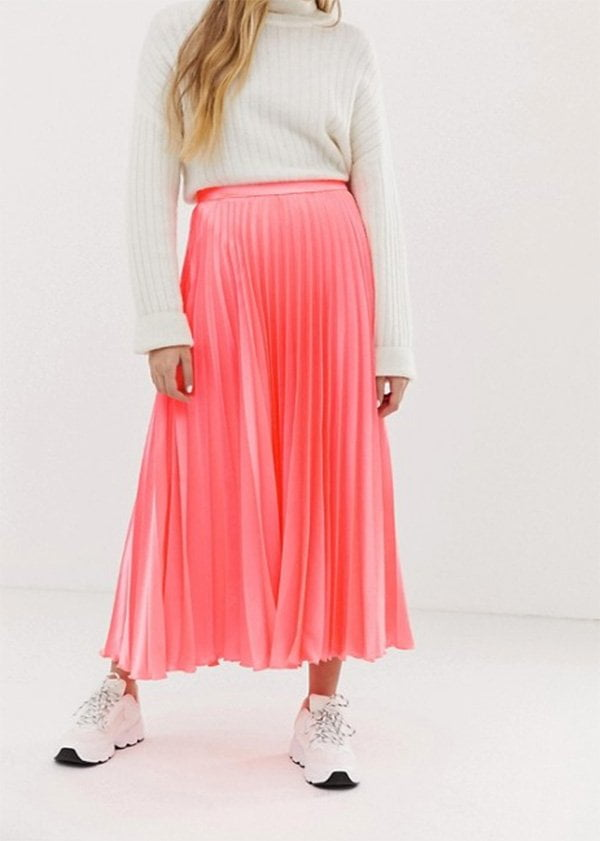 ASOS plissierter Midi-Rock in Neonpink: Lass' mal Farbe rein Fashion Flash auf Hey Pretty