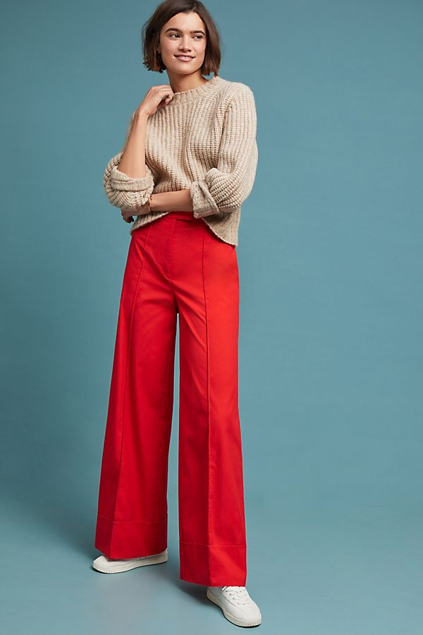 Hey Pretty Fashion Flash: Lass' mal Farbe rein! Wide Leg-Hose in Rot von Anthropologie