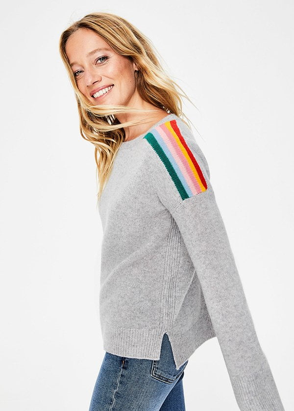 Boden Celia Cashmere Sweater with Rainbow Insert (Lass' Mal Farbe rein – Fashion Flash auf Hey Pretty, Januar 2019)