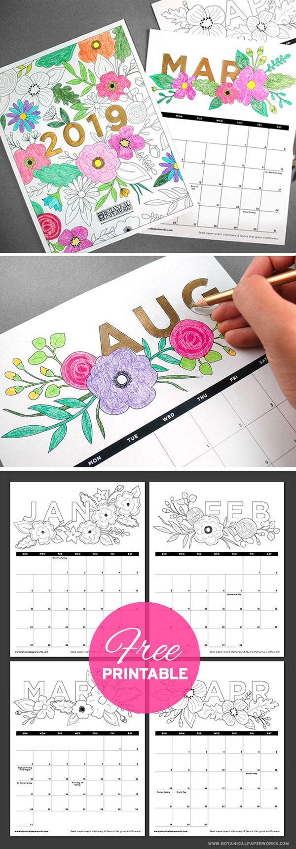Coloring Book Calender 2019: Free Printable by Botanical Paperworks (Hey Pretty Roundup der schönsten Jahreskalender 2019)