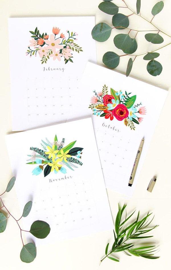 Free Printable Beautiful Floral 2019 Calendar von A Piece of Rainbow (Hey Pretty's schönsten Wandkalender 2019)