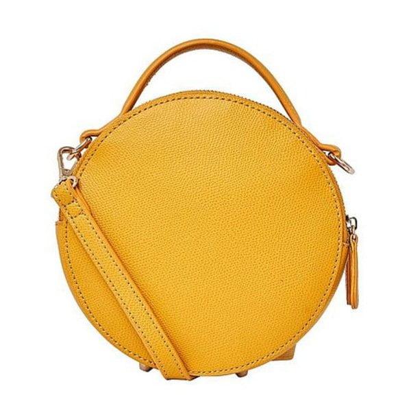 Runde gelbe Ledertasche von Hallhuber (bei Jelmoli-Shop) –Fashion Flash auf Hey Pretty