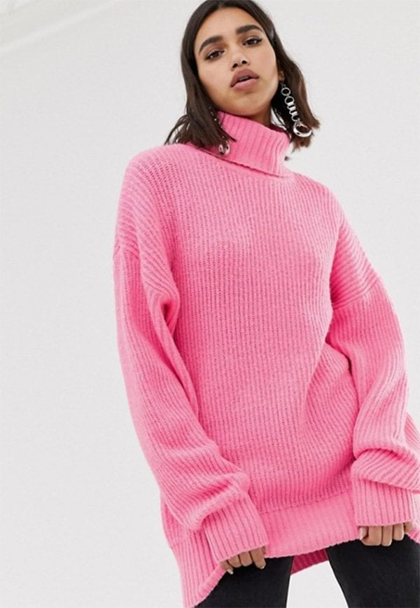 Missguided Boyfriend-Rollkragenpullover in Neonrosa von ASOS (Hey Pretty Fashion Flash Januar 2019: Lass' mal Farbe rein!)