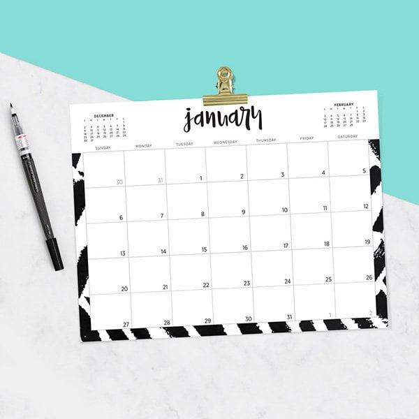 Free Printable Wandkalender 2019 von Oh So Lovely Blog (Hey Pretty Roundup der schönsten Jahreskalender 2019 zum gratis Downloaden und Ausdrucken)