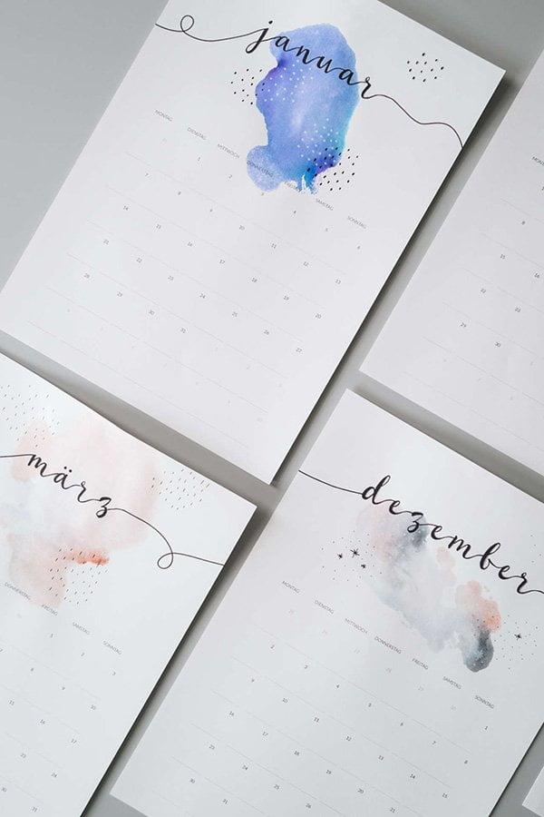 Minimalistischer Kalender 2019 von Paulsvera (Hey Pretty Beauty Blog Roundup von schönen Free Printable Kalendern)