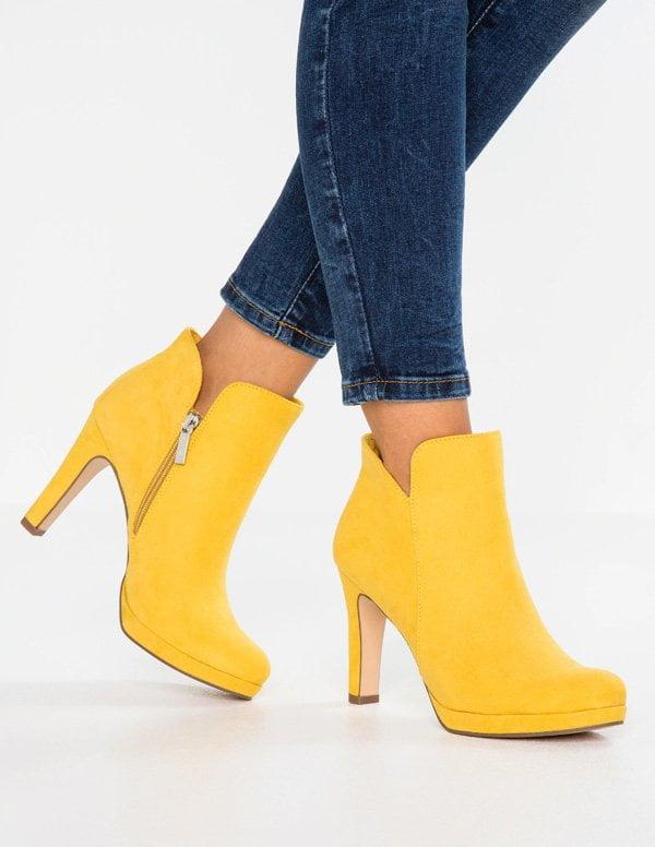 Tamaris High Heel Stiefelette mit Plateau in Gelb (Hey Pretty Fashion Flash: Lass' mal Farbe rein!)