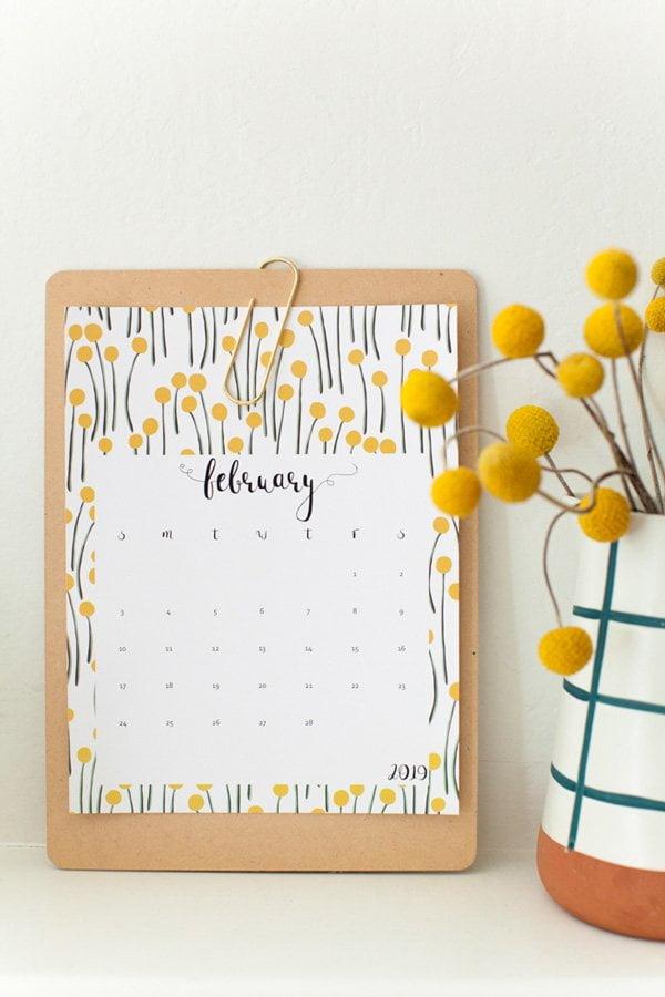 Free Printable Floral Calendar 2019 von This Little Street (Hey Pretty Roundup der schönsten Kalender 2019 zum selber ausdrucken)