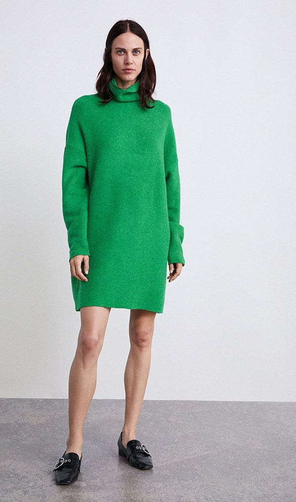 Zara Oversize-Dress in Apfelgrün: Bunte Wintermode auf Hey Pretty (Januar 2019)