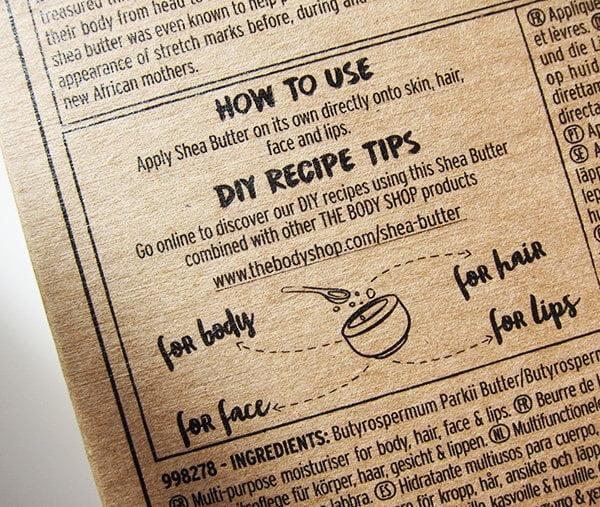 Detail Verpackung The Body Shop 100% reine Sheabutter (Erfahrungsbericht auf Hey Pretty)