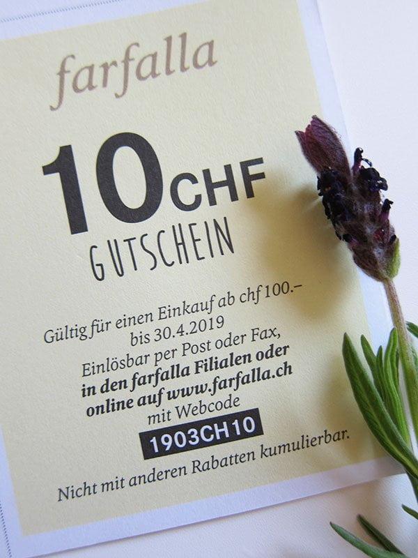 Farfalla CHF 10 Gutschein auf einen 100-Franken-Einkauf (Hey Pretty Beauty Blog)
