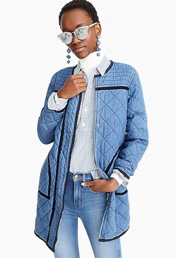 Hey Pretty Fashion Flash: Denim 2019 – J. Crew Point Sur Quilted Denim Coat