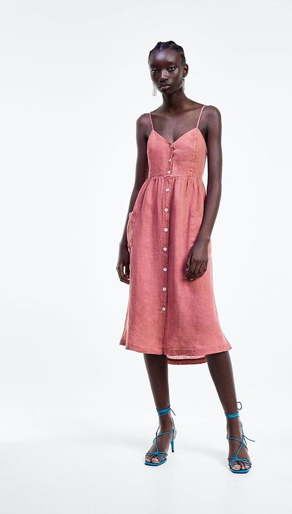 Zara Leinenkleid Korallenrot mit Knöpfen – Hey Pretty's Hitzewelle Must-Haves zum cool (und schön) bleiben