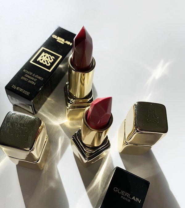 Guerlain Diamond Lipstick Satin Finish (Diamant Effet Satin)  in Peachy Gem und Red Jewel – aus der Guerlain Herbstkollektion 2019 «Magnetic Glam» in der Review auf Hey Pretty Beauty Blog