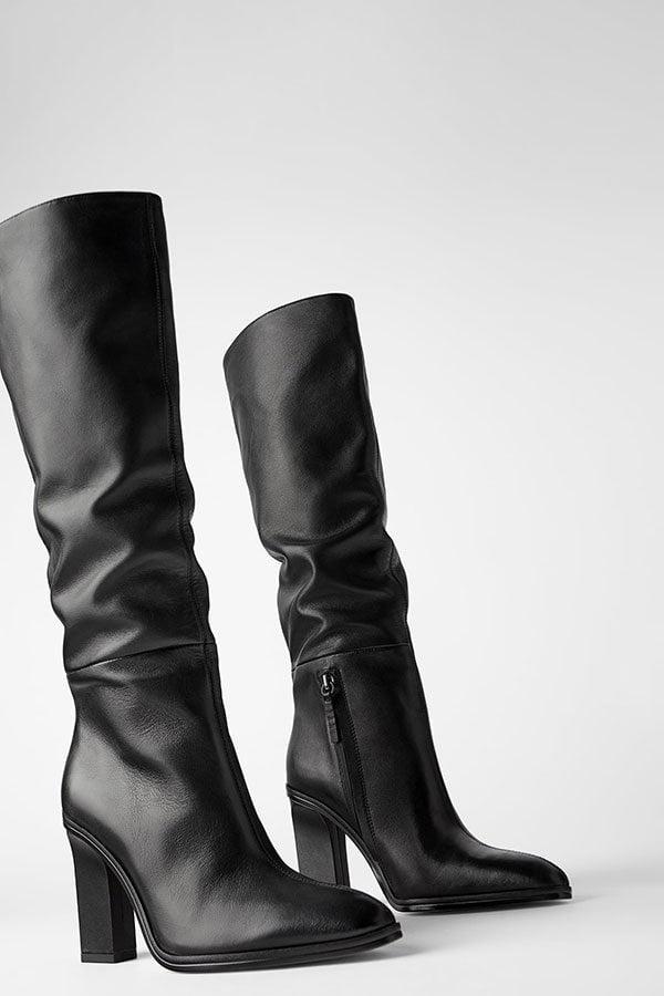 Slouchy Lederstiefel mit hohem Schaft von Zara (Hey Pretty Fashion Flash)