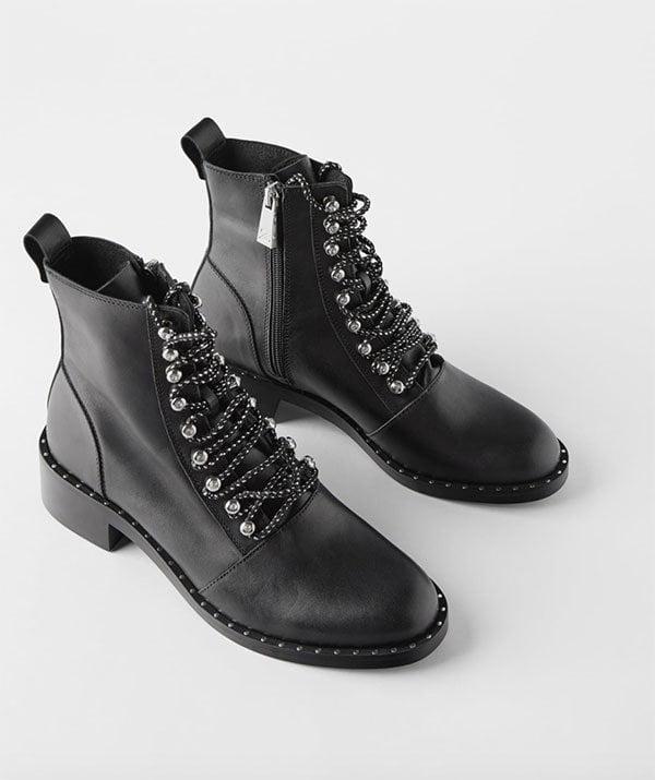 Geschnürte Biker Boots aus Leder mit Nieten von Zara (Hey Pretty Fashion Flash: Boots, Boots, Boots!)
