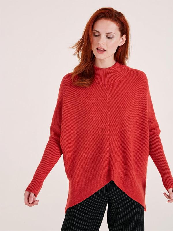 Roter Pullover mit abfallendem Saum von Heine