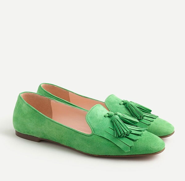 J. Crew Wildleder-Loafers in Limegrün (Hey Pretty Fashion Flash Januar 2020 – Alles auf grün!)
