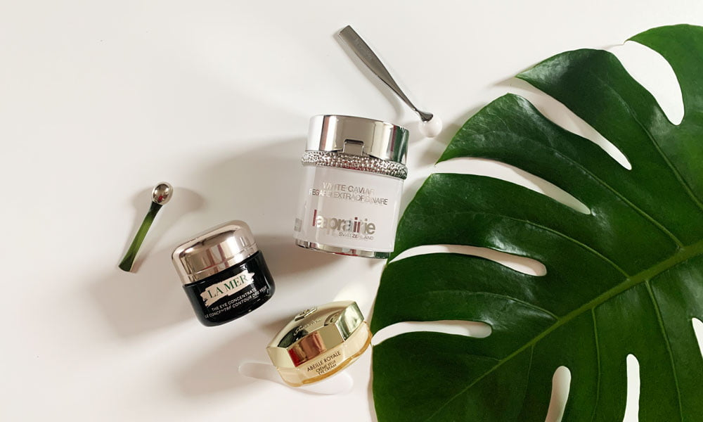 Luxuriöse Augenpflege-Neuheiten für April 2020 – gönn dir was (Hey Pretty Beauty Blog Review: La Prairie White Caviar Extraordinaire Eye, La Mer The Eye Concentrate und Guerlain Abeille Royale Eye)