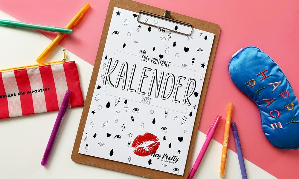 Free Printable Wandkalender 2021 von Hey Pretty: Jetzt gratis downloaden und ausdrucken (cooles 80s Design)