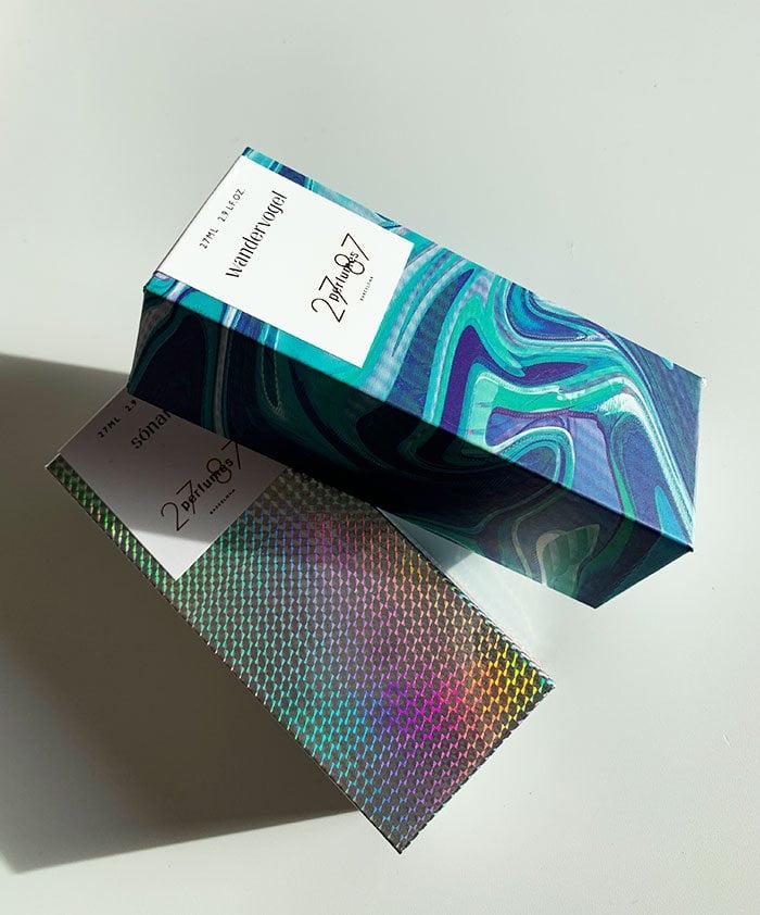 27 87 Perfume, Verpackung von Wandervogel und Sonar Eau de Parfum – Duft-Review und Interview mit Romy Kowalewski auf Hey Pretty Beauty Blog Schweiz (Hamaca, Wandervogel und Sonar)